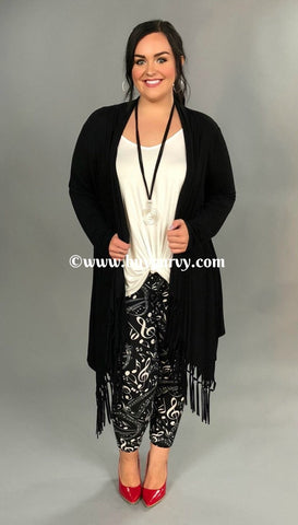 "OT ""Only Admiration"" Black Cardigan with Fringed Bottom"