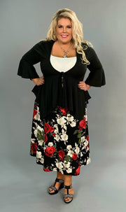 BT-A {Love Yourself} Black Stretchy Skirt with Red & White Roses PLUS SIZE
