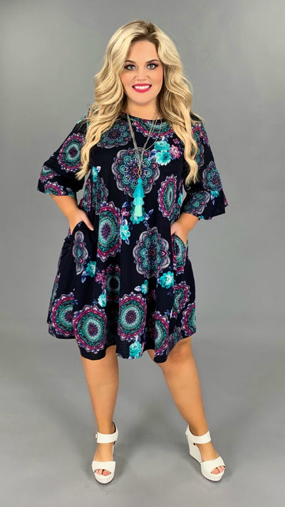 PQ-N {True Blue} Navy/Jade Floral Mandala Print Dress PLUS SIZE 1X 2X 3X