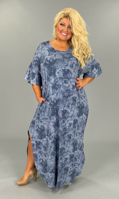LD-A{Blue For You}Tie-Dye Maxi Dress PLUS SIZE 1X 2X 3X