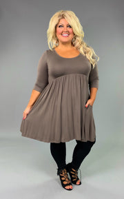 "SQ-C ""Annabelle"" Mocha Babydoll Tunic or Dress with 3/4 Sleeves"