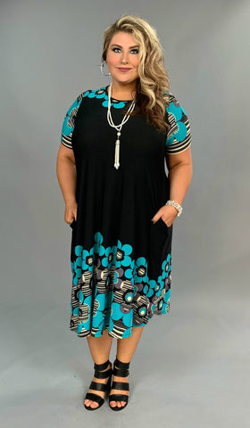 PSS-Q {Something About You} Black/Teal Floral Midi Dress