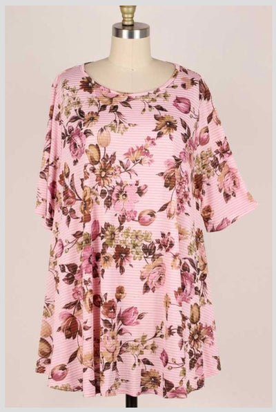 65 PSS-A {Picking Flowers}  Pink Striped Floral Print Tunic EXTENDED PLUS SIZE 3X 4X 5X