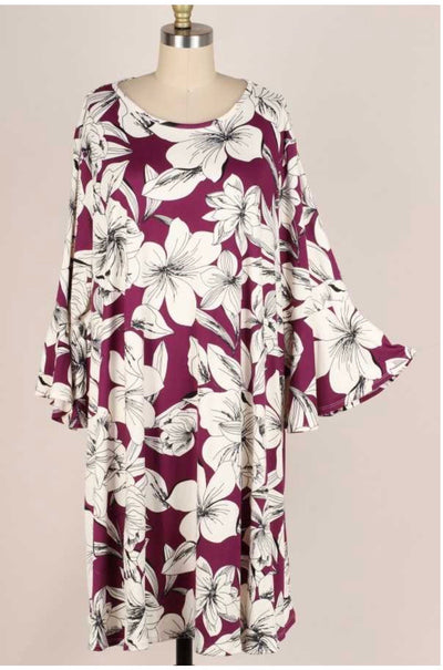 53 PQ-A {Flower Floats} Purple White Flower Dress Bell Sleeves EXTENDED PLUS 3X 4X 5X