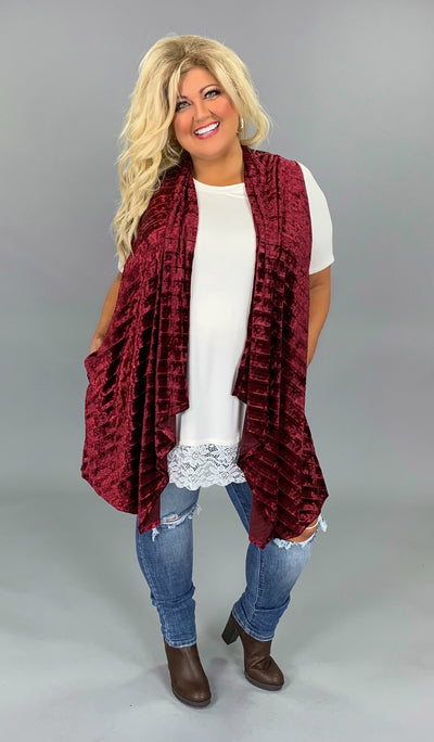 OT-L  (Extended Plus) Burgundy Velvet Vest with Pockets