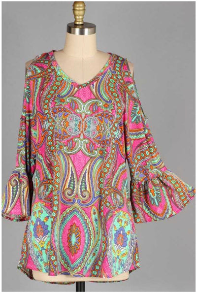OS-A {Saturday In The Park} Pink Multi-Print Paisley Tunic