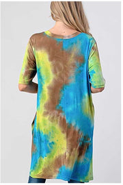 PSS-W {Earth, Wind, Water} Blue/Lime Tie Dye Split Hem Tunic PLUS SIZE 1X 2X 3X SALE!!