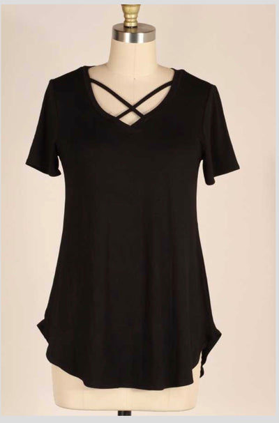 SSS-J {Bat Your Eyes} Black V-Neck Tunic With Neck Detail PLUS SIZE 1X 2X 3X