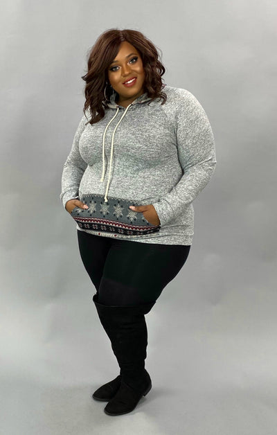 17 HD-B {Winter Chill} Grey Reindeer Print Hoodie PLUS SIZE XL 2X 3X