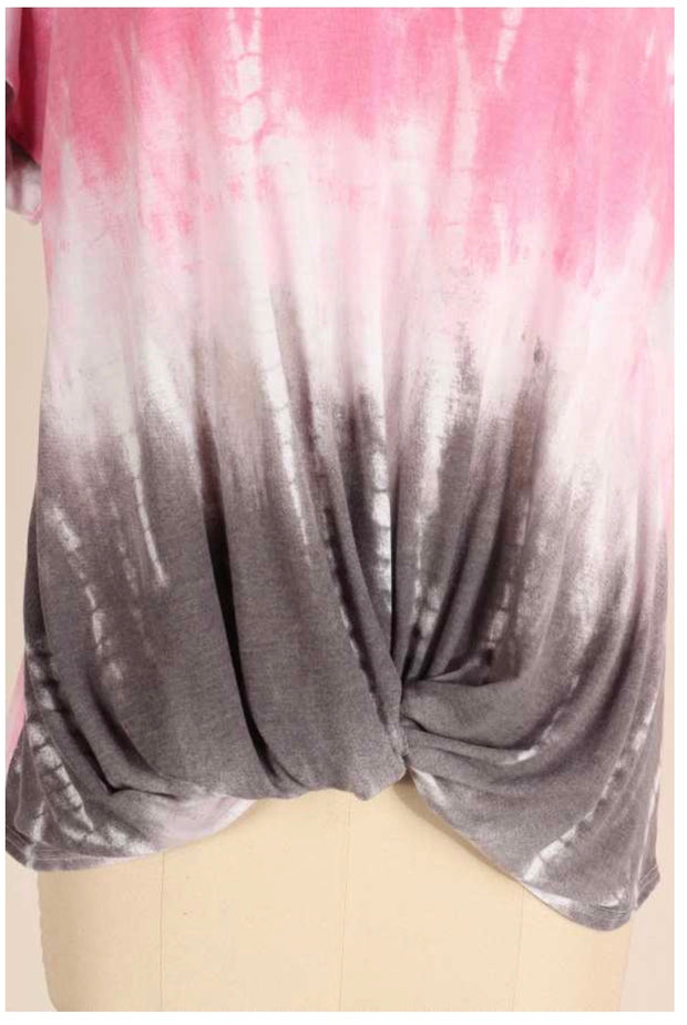 PSS-R {Don't Change A Thing} Pink/Grey Tie Dye Twist Hem Tunic  PLUS SIZE 1X 2X 3X