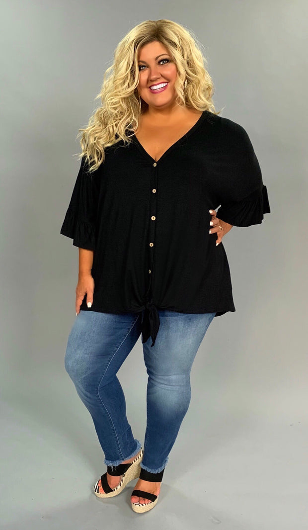 SSS-L (Extended Plus) Black V-Neck Tunic w/Button Front  & Tie Knot