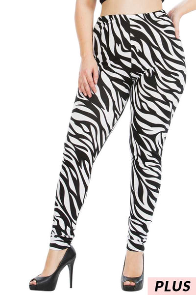 54 LEG-D {Zebra Run} Zebra Print Leggings PLUS SIZE 1X 2X 3X
