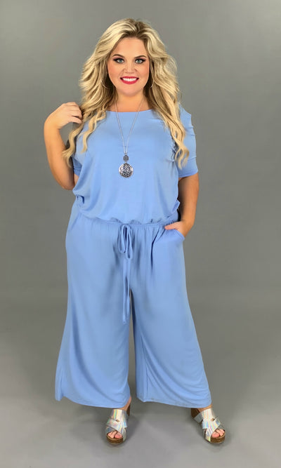 RP-B {Jump Ship} Baby Blue JUmpsuit with tie Neck/Elastic Waist PLUS SIZE 1X 2X 3X