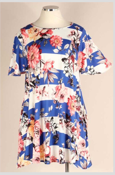 PSS-B {Beautiful Lady} Blue Ivory Stripe Floral Flutter Sleeve Dress EXTENDED PLUS SIZE 3X 4X 5X SALE!!