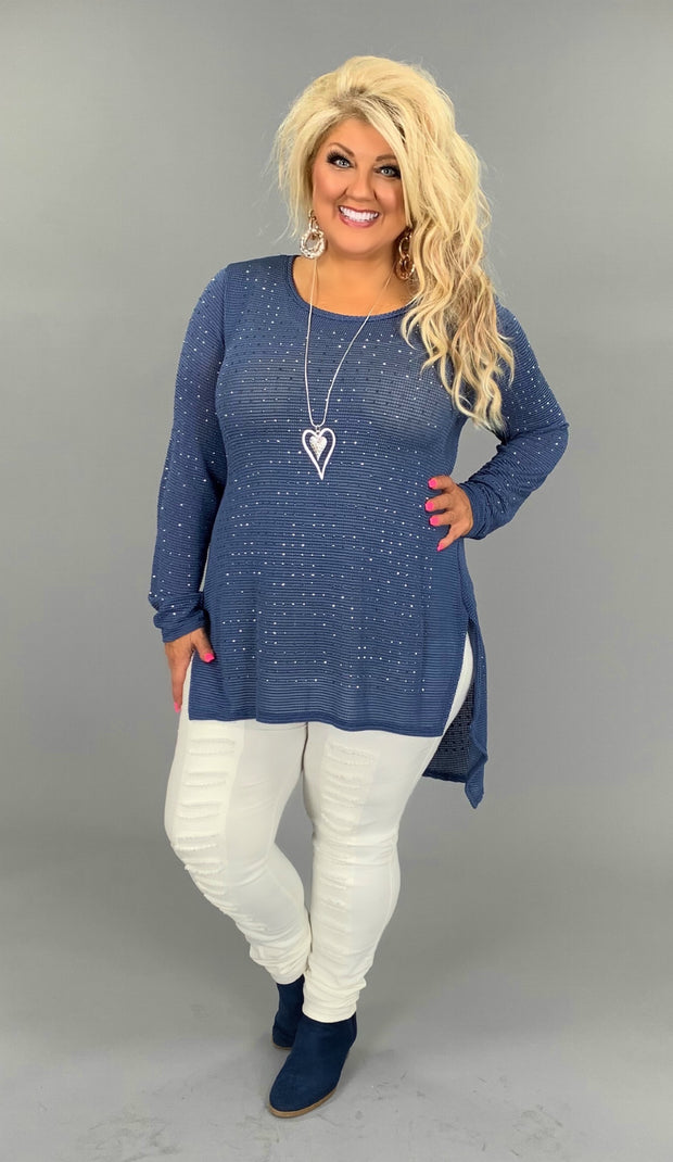 "SD-M ""Vocal""  Blue Hi-Lo Top With Studded Detail Tunic"