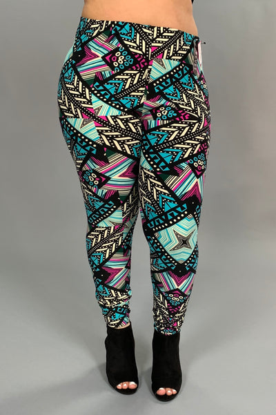 SQ/42- Aqua/Magenta Abstract Print Leggings Soft Poly/Spandex
