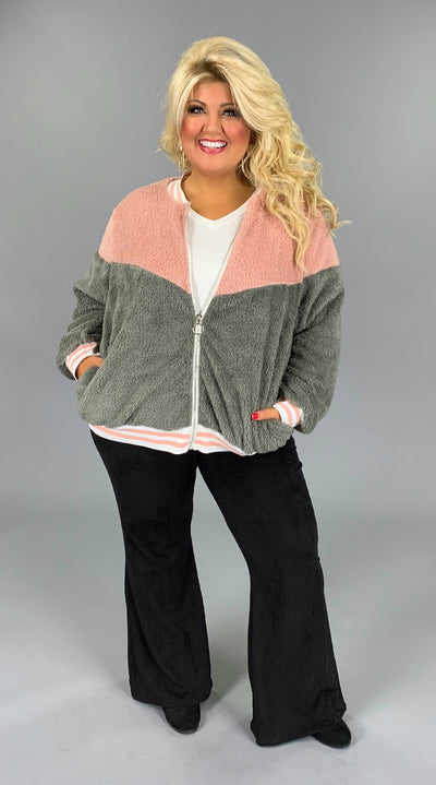 OT-G {Celebrate The Day} Pink/Gray Sherpa Zip Front Jacket SALE!!
