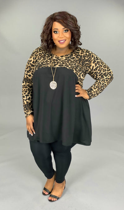 CP-P {Do Your Dance} Leopard Black Contrast Babydoll Dress PLUS SIZE