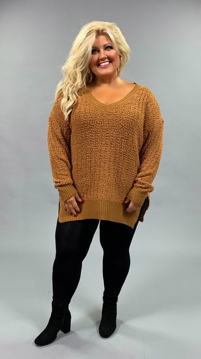 SLS-D {My Best Life} Coffee Cable Popcorn V-Neck Sweater  SALE!!