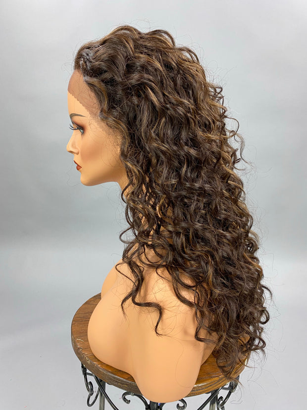 {LIly} Dark Brown Long Spiral Curl Wig