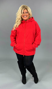 OT-O {Comfy Chic} Ruby Red Hoodie Jacket Full Zipper  SALE!!  PLUS SIZE 1X 2X 3X