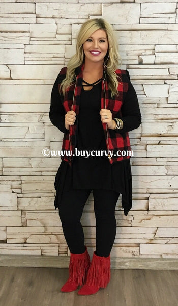 OT-Q Black/Red Checkered With Zipper Vest