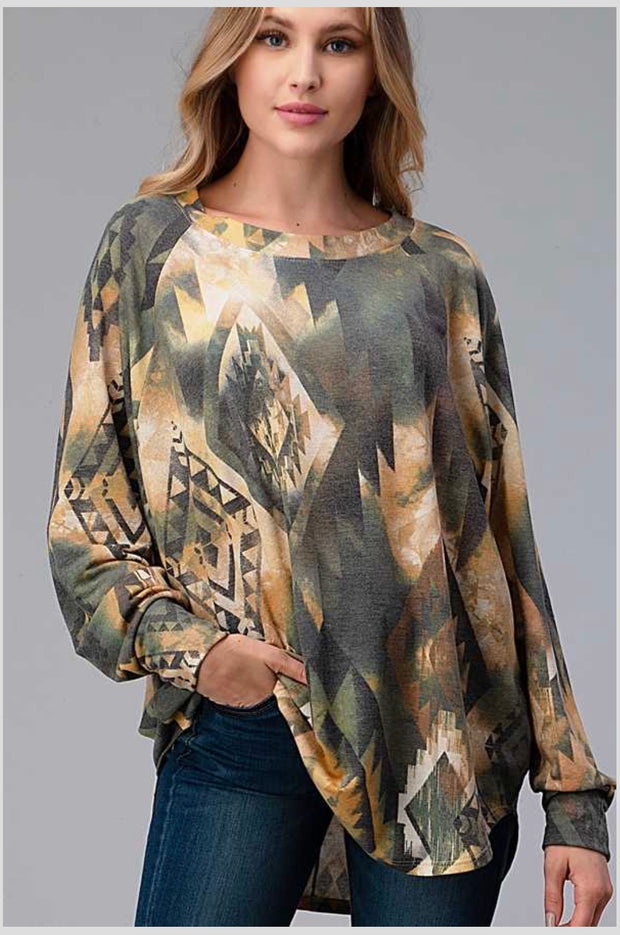 37 PLS-A {Wide Eyed} SALE!!  Olive Yellow Printed Top EXTENDED PLUS SIZE 4X 5X 6X