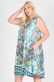 SV-A {Saturday Shopping} Aqua Paisley Sleeveless Dress EXTENDED PLUS SIZE 3X 4X 5X