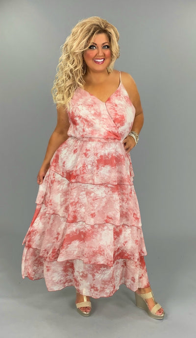 LD-O {Moulin Rouge} SALE!! Rosewood Tie-Dye Maxi Dress With Adjustable Spagetti Straps PLUS SIZE 1X 2X 3X