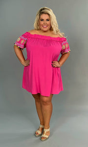 OS-O {Shake It Baby} Hot Pink Dress with Pom-Pom Detail FLASH SALE!!