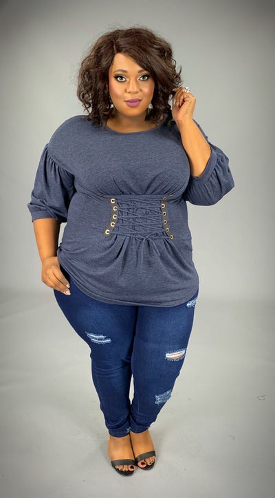 SQ-K Indigo Corset Top with Front Detail & Elastic Cuff SALE!!