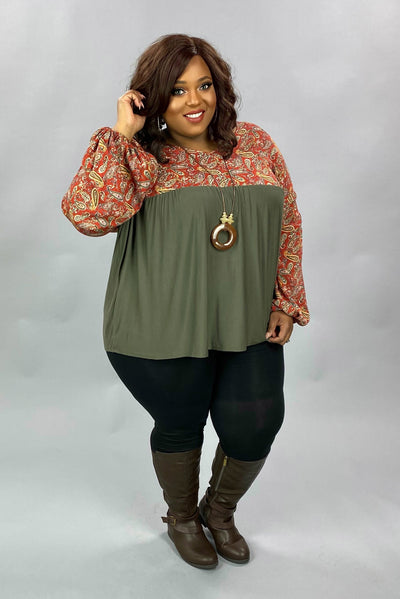 20 CP-B {Pumpkin Harvest} SALE!! Rust Olive Paisley Contrast Top PLUS SIZE XL 2X 3X