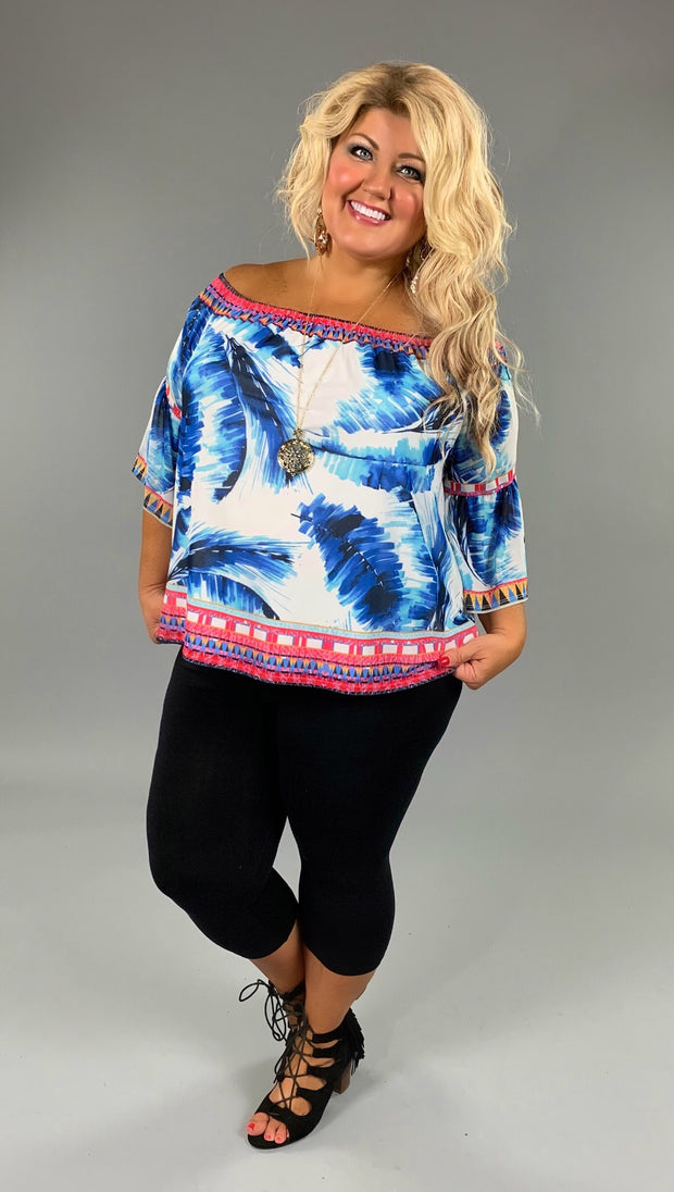 "PQ-T ""Flying Tomato"" Feather Print Top with 3/4 Sleeves FLASH SALE!!"