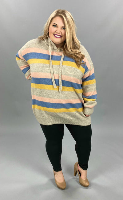 23 HD-E {Over The Moon} SALE!! Taupe Blush Striped Hoodie PLUS SIZE 1X/2X