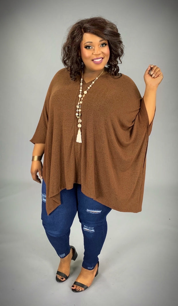 PQ-K {Always Classy} V-Neck Light Brown Sweater Poncho PLUS SIZE  1X 2X 3X