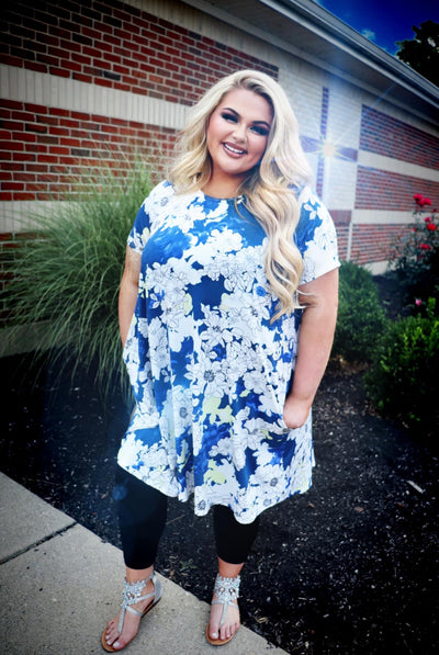 PSS-T {Color Me Royal} Ivory/Blue Floral Print Dress EXTENDED PLUS SIZE 3X 4X 5X SALE!!