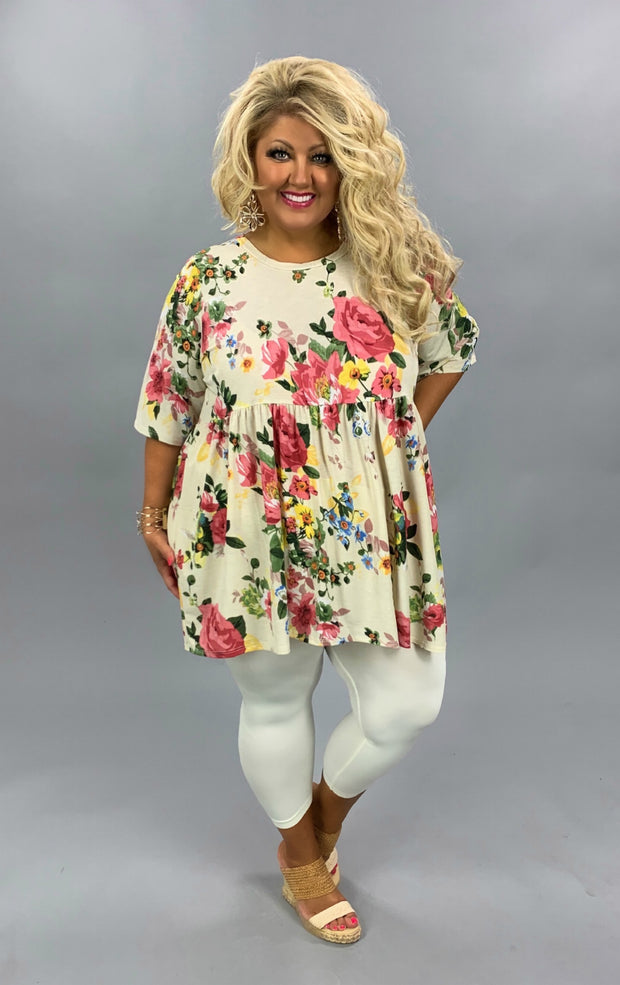 PSS-C {Dressed Like A Daydream} Ivory/Pink Floral Babydoll Tunic CURVY BRAND EXTENDED PLUS SIZE 3X 4X 5X 6X SALE!!