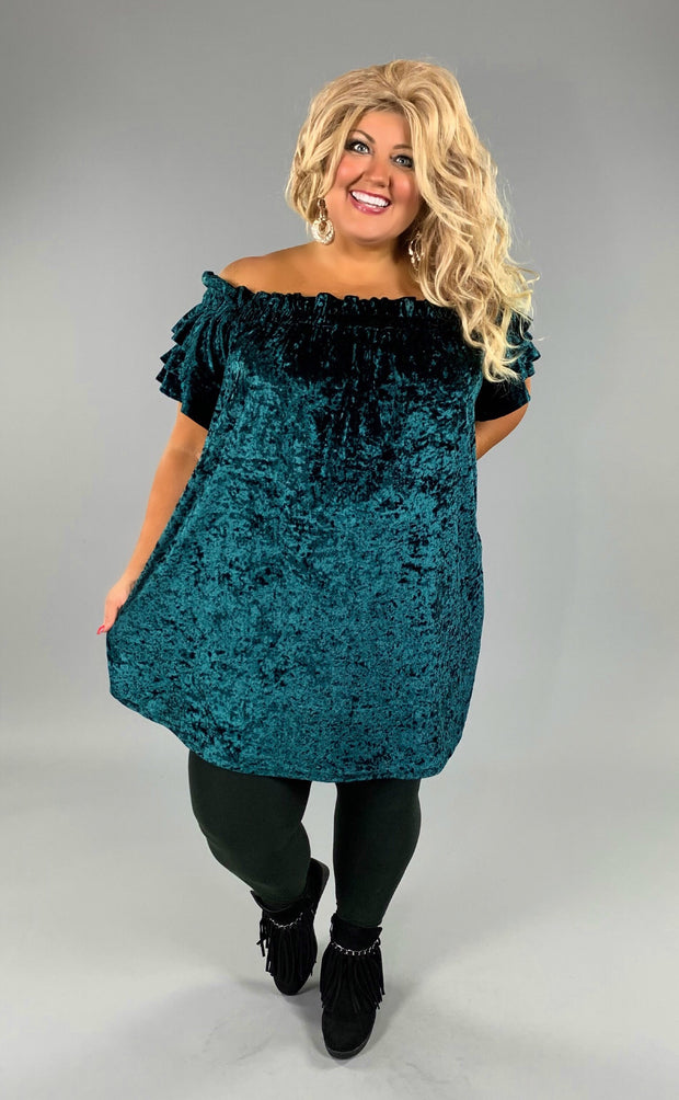 "OFF-G ""UMGEE"" Teal Crushed Velvet Off-Shoulder Dress or Tunic SALE!"