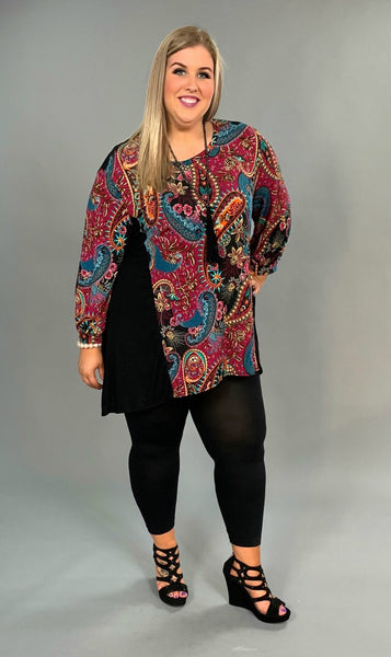 CP-H {Copy My Style} Magenta Paisley Top with 3/4 Sleeves Extended Plus