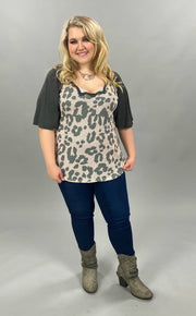 21 CP-F {Makes Me Blush}  SALE!! Grey Blush Leopard Waffle Top PLUS SIZE XL 2X 3X
