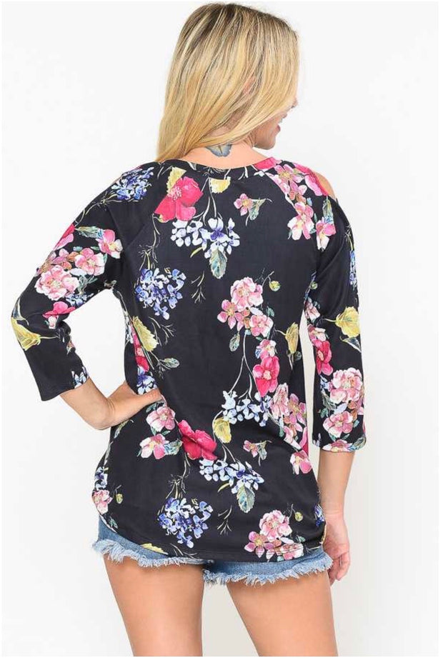 49 OS-A {Flowers In Bloom} Black Floral Print Cut Out Sleeve Top PLUS SIZE XL 2X 3X