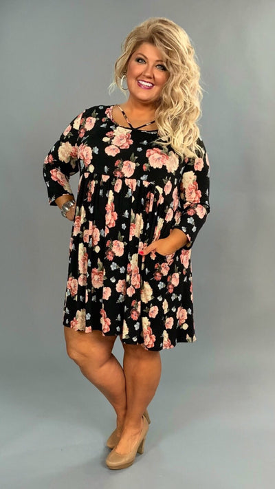 PQ-G {Midnight Love} Black/Pink Rose Floral Babydoll Dress SALE!!