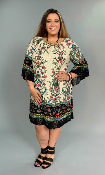 PQ-D {Flirty Floral} Border Print Bell Sleeve Elastic Neck Dress