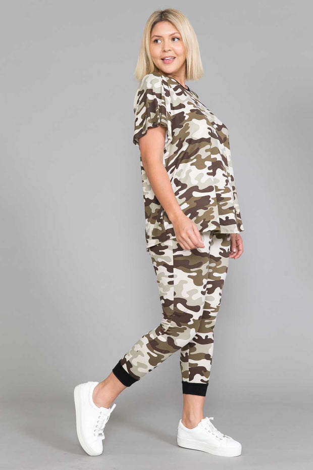 63 SET-G {Camo Fanatic} Camouflage Printed Lounge Wear EXTENDED PLUS SIZE 4X 5X 6X