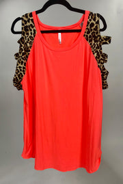 OS-C {Party Girl} Neon Orange Leopard Print Contrast Top Extended Plus FLASH SALE!!