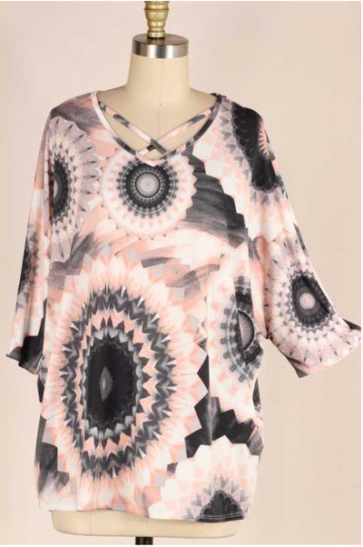 48 PSS-A {Moments Whispered} Peach Grey Medallion Print Top PLUS SIZE XL 2X 3X