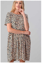 PSS-A {Don't Hold Back} Cream Leopard Print Babydoll Dress PLUS SIZE 1X 2X 3X