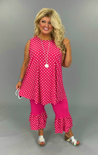 SET{Polka Dot Party} Pink Polka Dot Tunic With Ruffle Hem Capri EXTENDED PLUS SIZE 3X 4X 5X 6X in stock now (1X & 2X Preorder Only)