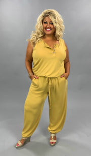 RP-M {Don't Go To Pieces} Sleeveless Mustard with Button Detail/Elastic Waist & Ankle PLUS SIZE 1X 2X 3X SALE!!
