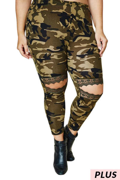 11-14 BT-B {Chasin' You} Camo Cut Knee Bottoms PLUS SIZE XL 2X 3X